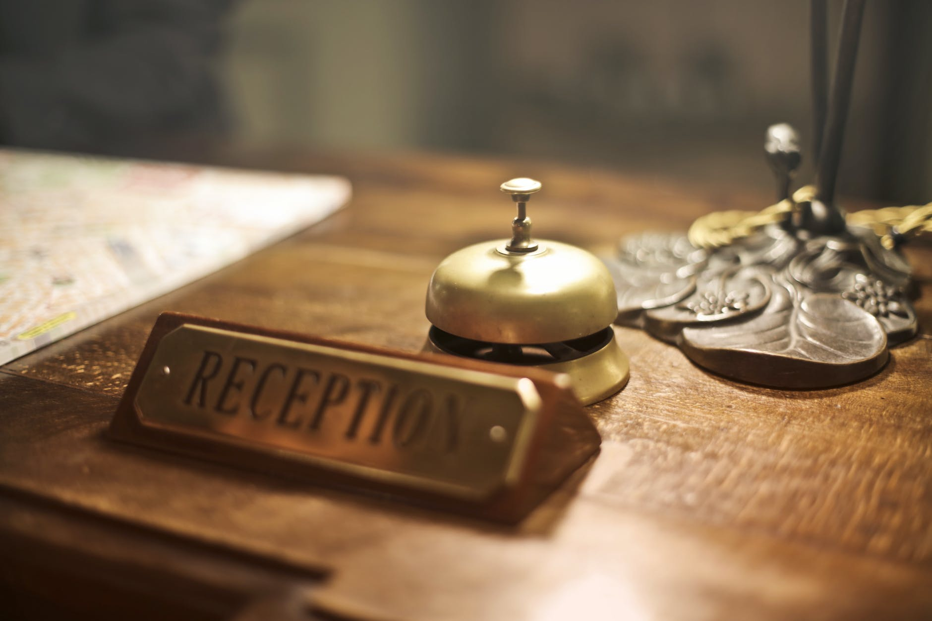 A bell at the reception desk