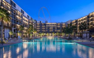 Hotel swimming pool area with palm tress surrounding swimming pool