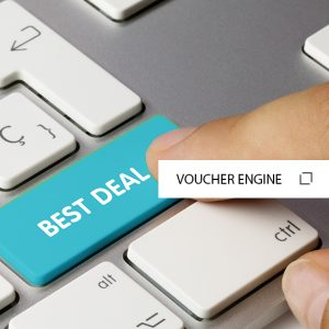 Hand on a keyboard with a button saying Best Deals